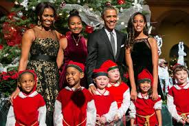 Christmas Family Photo Malia And Sasha Sparkle In The Obama Familys New Christmas Card