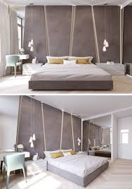 Modern Bedroom Decorating The Angular Upholstered Headboard In This Modern Bedroom Almost