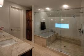 tub and the shower form a separate unit view in gallery