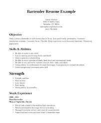 Restaurant Resume Samples Server Objective Resume Bartender Resume