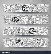 Doodling Designs Templates Vector Hand Drawn Doodles Sketchy Food Banners Design
