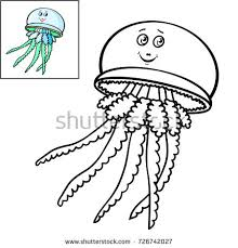coloring book page for kids cute cartoon fish smiling jellyfish vector ilration