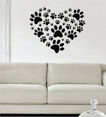 Small Picture Dog Paw Print Heart Design Decal Sticker Wall Vinyl Decor Art