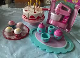 pretend play wooden tea party bundle inc birthday cake buns tea set on tray and pretend food mixer