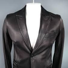 hermes 38 black textured deer skin leather 2 on peak lapel sport coat at 1stdibs
