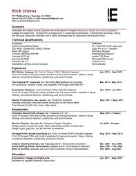 recording engineer resume audio engineer resume best resume gallery