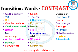 Transitions Words Contrast English Study Here