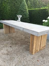 Concrete Top Dining Tables Cessa Light Concrete And Teak Dining Table Mecox Gardens