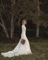 lace mermaid bohemian long sleeve wedding dresses country bridal
