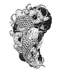 Fototapeta Kaprové Ryby A Chryzantémové Tetování Ruční Kresboutattoo Umění