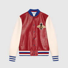 gucci varsity jacket. leather and felt bomber with embroideries gucci varsity jacket o