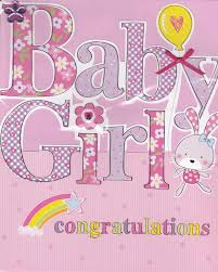 Hand Finished Baby Girl Card Large Luxury Congratulations Card