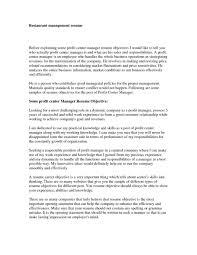 Restaurant Resume Objectives Restaurant Manager Resume Example O