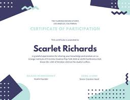 Design Of Certificate Of Participation