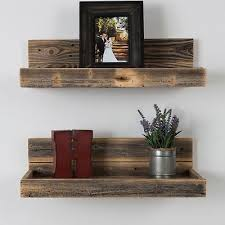 reclaimed barn wood floating shelves set of 2 rustic farmhouse wall display