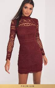 Prettylittlething Womens Lexi Burgundy Crochet Lace Long Sleeve