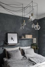 cozy blue black bedroom. 23 // Blue Space With Cool Lamps And Cozy Linen Bedding Via Alvheim. Blue Black Bedroom