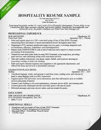 Hospitality Resume Sample Simple