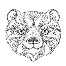 Carta Da Parati Disegnati A Mano Inchiostro Doodle Orso Su Sfondo Bianco Colorare