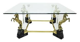 vintage glass coffee table with brass horse legs 1970