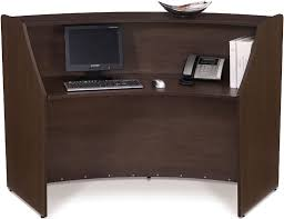 ofm single marque reception station with silver frame and three wood finish options