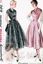 1940s Dress Patterns Mesmerizing 48s Beautiful Evening Party Dress Pattern Fitted Surplice Bodice 48