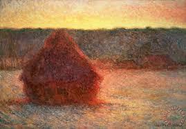 haystacks at sunset painting claude monet haystacks at sunset art print