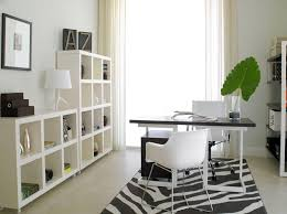 fabulous white small home office ideas featuring white shelves and zebra rug