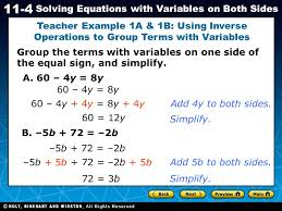 teacher example 1a 1b using inverse operations to group terms with variables