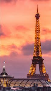 paris eiffel tower with purple sky and