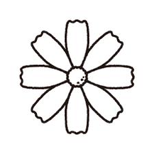 コスモスの白黒フリー素材イラスト Kagoのイラスト工房