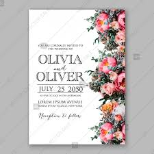 Vintage Invitation Template Extraordinary Pink Peony Wedding Vintage Invitation Vector Card Template Peony