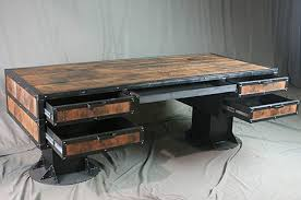 vintage style office furniture. Vintage Industrial Wooden Desk With Drawers - Reclaimed Wood Urban Style  Vintage Style Office Furniture