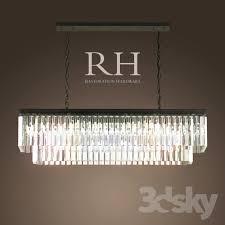 rh 1920s odeon glass fringe rectangular chandelier small iron