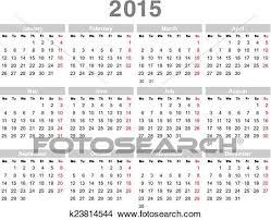 Annual Calendar 2015 2015 Year Annual Calendar Monday First English Clipart