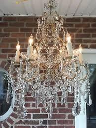 antique vintage italian crystal beaded chandelier rewired