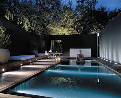 swimming pool lighting ideas. sleek contemporary pool and landscape with buddha feature nice accent lighting too pinned to design by basku2026 swimming ideas h