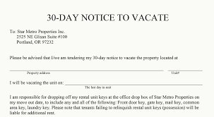 day notice to an apartment complex