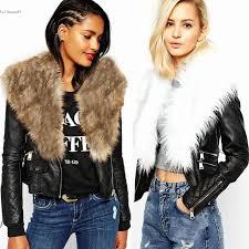 2016 las faux fur pu leather look fur collar womens biker jacket coat short outwear