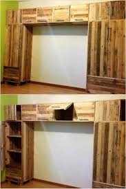 Shelves Made From Pallets Best 25 Pallet Closet Ideas On Pinterest Pallet Wardrobe
