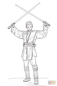Small Picture Anakin Skywalker with Two Lightsabers coloring page Free