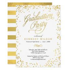 Formal Graduation Announcement Shiny Confetti Graduation Party Invitation White