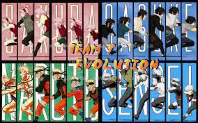 team 7 evolution sakura sasuke naruto anime
