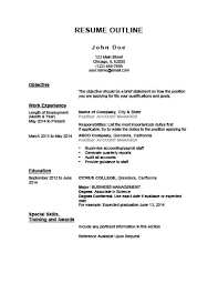 Resume Outline Example Custom 28 Customizable Resume Outline Templates And WorkSheets