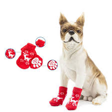 4Pcs <b>Christmas Pet Accessories</b> Dog Pet Socks Shoes Non-Slip Knit ...