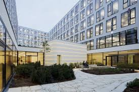 contemporary office buildings. Courtyard Of Modern And Contemporary Office In White Interior Buildings