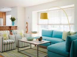 Cool L Shape Turquoise Living Room Sofa With Rectangle Cocktail Desk Decor  Also Yellow Shade Floor Lamp