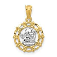 details about 14k yellow white gold satin finish diamond cut cherub in round frame pendant