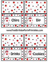 tent cards chips dip drinks cookies