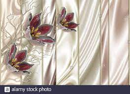 3d wallpaper, red jewelry flowers, pale ...